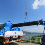 【水管橋破損・断水】仮復旧工事開始、9日朝の断水解消目指す